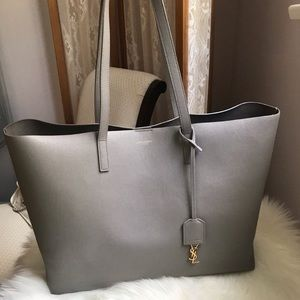 YSL east west grey shopping tote